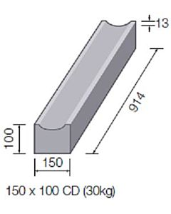 DISHED CHANNEL STRAIGHT 150x100 914MM LONG