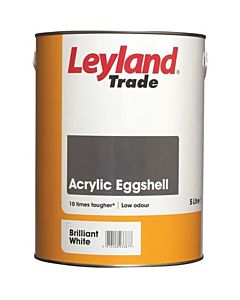LEYLAND TRADE ACRYLIC EGGSHELL B/WHITE 2.5LTR QUICK DRYING WATER BASED