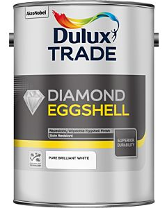 DULUX TRADE DIAMOND EGGSHELL BRILLIANT WHITE 5LT (QUICK DRYING WATER BASED)