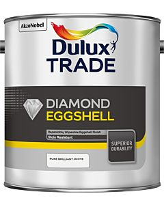 DULUX TRADE DIAMOND EGGSHELL BRILLIANT WHITE 2.5LTR (QUICK DRYING WATER BASED)