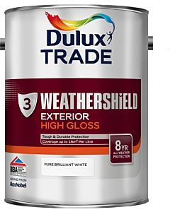 DULUX TRADE W/SHIELD GLOSS BRILLIANT WHITE 5LTR EXTERIOR WEATHERSHIELD