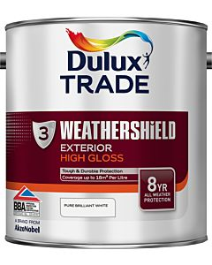 DULUX TRADE W/SHIELD GLOSS BRILLIANT WHITE 2.5LT EXTERIOR WEATHERSHIELD