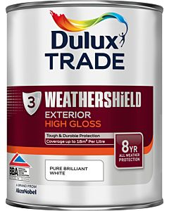 DULUX TRADE W/SHIELD GLOSS BRILLIANT WHITE 1LTR EXTERIOR WEATHERSHIELD