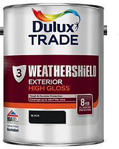 DULUX TRADE W/SHIELD GLOSS BLACK 5LTR EXTERIOR WEATHERSHIELD