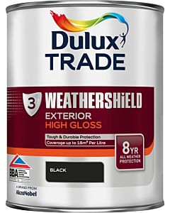 Dulux Trade Weathershield Gloss Paint Black 1L