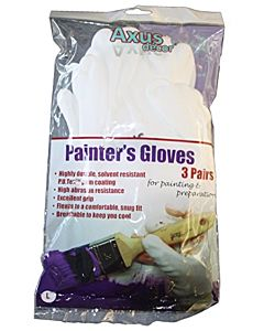 AXUS WHITE PAINTER GLOVES (L) PK3