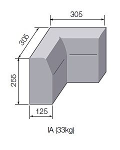 HALF BATTERED INTERNAL ANGLE 125x255HB HBIA A7119
