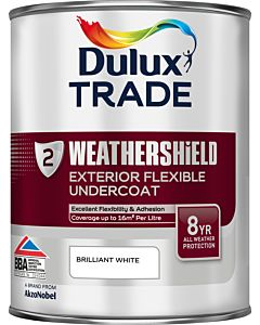 DULUX TRADE W/S UNDERCOAT BRILLIANT WHITE 1LTR EXTERIOR WEATHERSHIELD