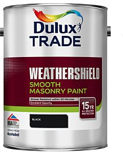 Dulux Trade Weathershield Smooth Masonry Exterior Paint Black 5L