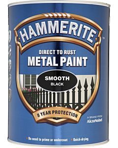 HAMMERITE SMOOTH METAL PAINT BLACK 5LTR