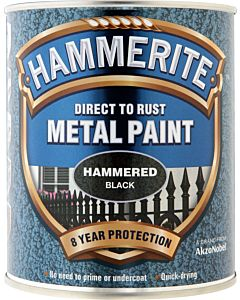 HAMMERITE HAMMERED METAL PAINT BLACK 750ML