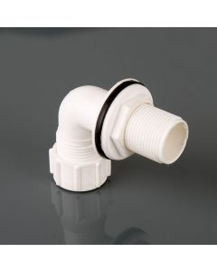 OVERFLOW TANK CONN. BENT 21.5MM WHITE W170