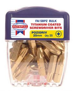 Faithfull Pozi 3 Titanium Coated Screwdriver Bits 25mm Pack of 25