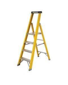YOUNGMAN S400 F/GLASS H/DUTY STEP LADDER 4 TREAD YELLOW COATED - OPEN HEIGHT 1MTR