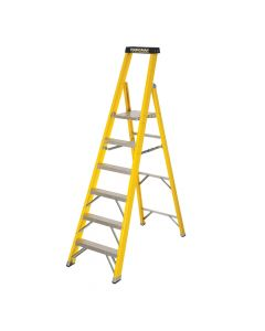 YOUNGMAN S400 F/GLASS H/DUTY STEP LADDER 6 TREAD YELLOW COATED - OPEN HEIGHT 1.65MTR