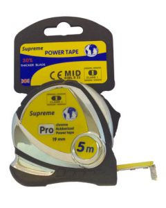 SUPREME H/DUTY CHROME PLATED TAPE MEASURE 5MTR